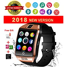 Bluetooth Smart Watch with Camera Waterproof Smartwatch Touch Screen Unlocked Cell Phone Watch Smart Wrist Watch Smart Watches for Android Phones Men Women Kids (Gold) (gold2)