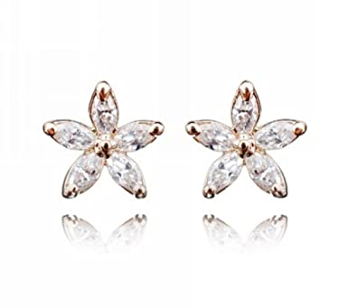 b904df476 Rose Gold Flower Stud Earrings with Cubic Zirconia CZ for Women and Girls