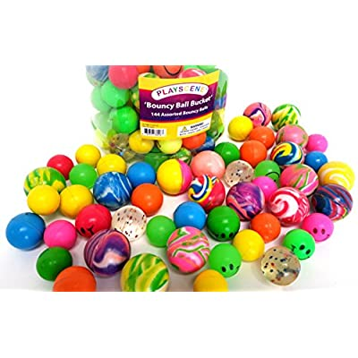'Bouncy Ball Bucket' 144 Assorted Bouncy Balls, By Playscene