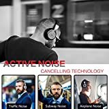 Noise Cancelling Bluetooth Headphones - Hi-Fi Stereo Deep Bass Over Ear Wireless Headphones with Mic and Portable Carrying Case for Travel Work TV/PC/Cell Phones, Steel Silver