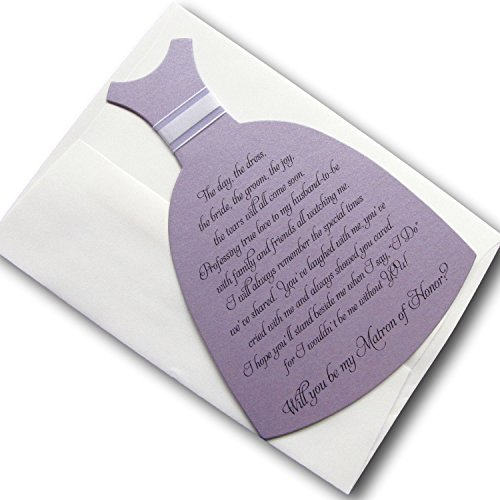 Will You Be My Matron of Honor Invitation Dress Shaped (Purple) (Marrying Best Friend Poem)