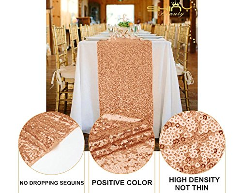 Rose Gold Bridal Shower Decorations 5Pcs Rose Gold 12''x72'' Sequin Table Runners Rose Gold Party Supplies ~723S by ShiDianYi (Image #4)