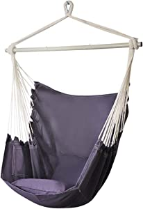 PIRNY Hammock Chair Relax Hanging Swing with Pocket,Outdoor and Indoor Use,300 LBS Large Space Size,Convenient to Receive (Grey)