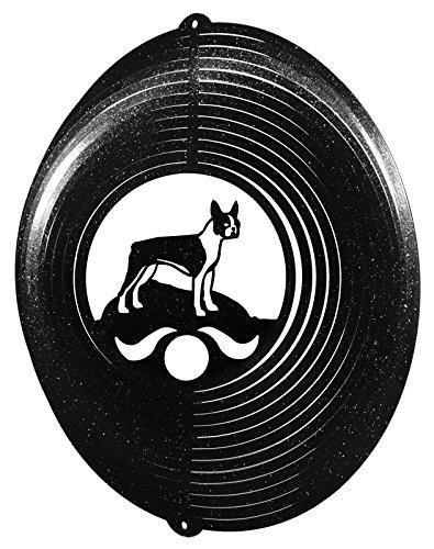 BOSTON TERRIER Circle Swirly Metal Wind Spinner ()