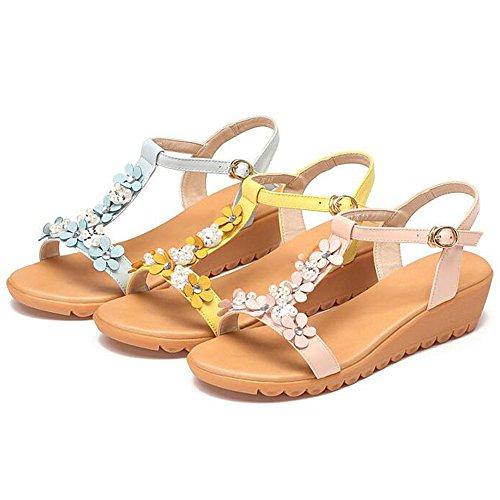 xiaolin Tacón Talón Sandalias de mujer Mujer Verano Zapatos medio suave dulces opcional tamaño Decoración 03 Flores qxf1Hd