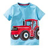 Rucan Little Boys Girls Summer Short Sleeve Cotton T-Shirts Cartoon Print Tops (B, 3-4 Years)