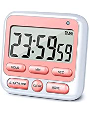 RumcnJen Upgraded 24-Hours Digital Kitchen Timer, 12-Hour Clock, Large Display, Loud Alarm, Magnetic Backing Stand, Count-Up & Count Down, Kids Timers for Cooking Baking Classroom Teachers Games