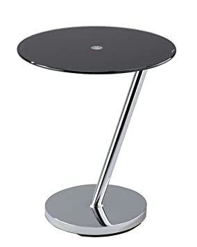 Aspect Glass End Coffee Curve Round Side Table Black Metal