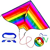 Rainbow Kite for Kids and Adults,Single Line Beginner Kite Easy Flyer with Long Tail