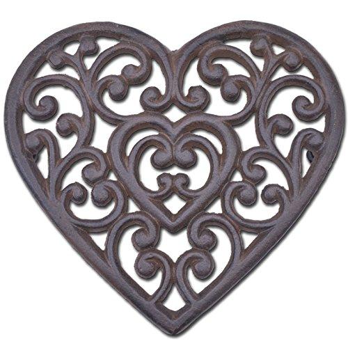 Heart Trivet - Decorative Cast Iron Trivet Ornate Heart 8