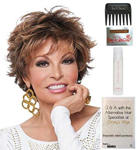 Bundle - 5 items: Voltage LARGE CAP by Raquel Welch Wig, 15 Page Christy's Wigs Q & A Booklet, Wig Shampoo, Wig Cap & Wide Tooth Comb (Color Selected: 3025S+) by Raquel Welch & Christy's Wigs