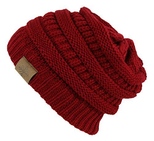 Winter Warm Thick Cable Knit Slouchy Skull Beanie Cap Hat (RED) - Red Winter Beanie