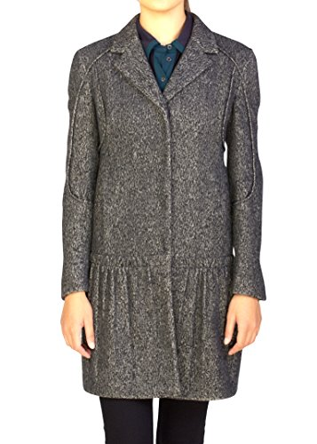 Prada Women's Wool Cashmere Blend Ribbed Overcoat Grey - Grey Cashmere Wool Ribbed