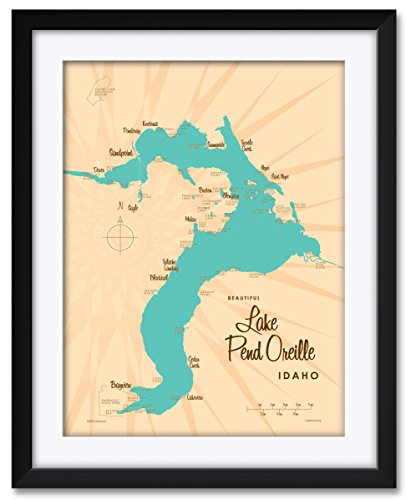 Northwest Art Mall Lake Pend Oreille Idaho Map Framed & Matted Art Print by Lakebound Print Size: 18