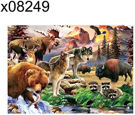 Big Promotion Diamond Painting Shop,Shuohu 40x30cm Bird Wolf Forest Cabin Fish Cross Stitch DIY Full Round Diamond Painting