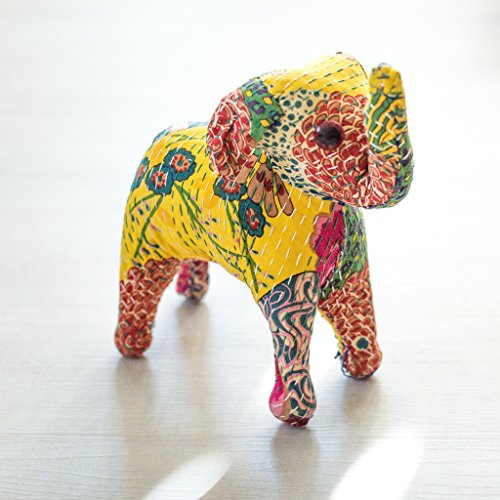 Ankit Yellow Indian Handcrafted Colorful Embroidery Home Decor Ornament Rajasthani Royal Stuffed Folk Art Cotton Silk Elephant Mammal