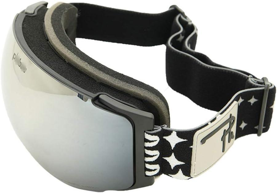 スキーゴーグル 屋外登山スキーゴーグル交換可能なレンズ大人ダブル防曇スキーメガネ 男性と女性の防曇ミラースキーゴーグル (色 : Adult magnet 黒) Adult magnet 黒