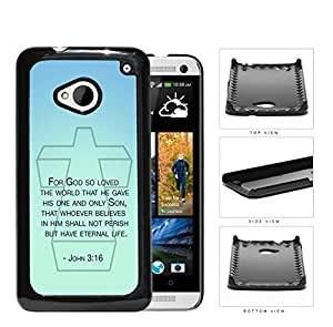 John 3:16 Bible Verse on Mint & Teal Background [HTC one M7] Hard Snap on Plastic Cell Phone Cover