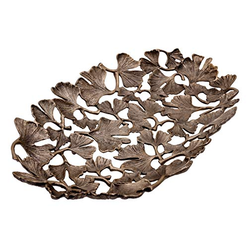 (Decozen The Gingko Collection Aluminum Oval Platter in Gingko Leaf Design Antique Brass Finish Table Décor Item for Home Restaurant Café Decorative Serving Platter)
