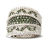 Sterling Silver 1.51ct Green and White Diamond Wide-Band Ring (H-I, I2-I3)