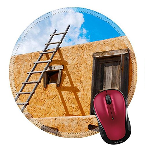Liili Round Mouse Pad Natural Rubber Mousepad Ladder on a Southwest style stucco building in New Mexico Photo 5582368