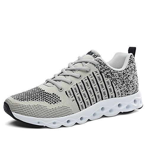 CLAMON Stylish Casual Sneakers Running Shoes Innovative Breathable Design,Best Anti - Slip Design (8.5, Grey/Black)