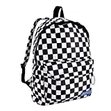 Unisex Canvas Backpack Checkerboard School Bag Travel Rucksack Large Capacity, Large