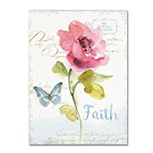 Rainbow Seeds Floral VI Faith by Lisa Audit, 14x19-Inch Canvas Wall Art