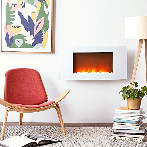 Cheap Cambridge CAM35WMEF-2WHT Callisto 35 In. Wall-Mount Electric Fireplace with White Curved Panel and Realistic Log Display Black Friday & Cyber Monday 2019