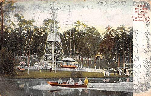 Houston Texas Highland Park Aerial Swing Amusements Postcard JH230756