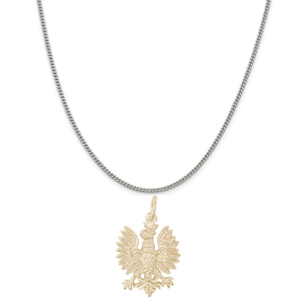 Box or Curb Chain Necklace 18 or 20 inch Rope Rembrandt Charms Two-Tone Sterling Silver Polish Falcon Charm on a Sterling Silver 16