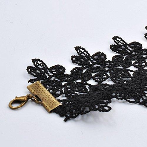 Jane Stone Collier Ras du Cou Gothique Lace Dentelle Noir Fleur Lolita Perles Frange Vintage Femme Bijoux Accessoires Tendance