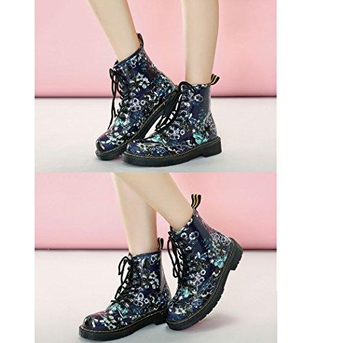 Frauen Mädchen Winter Warm Klassischer Retro Martin Stiefel Damen Wasserdichte Schnüren Lässig Stiefel Blue
