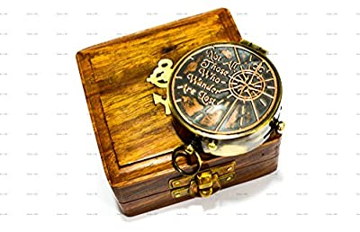 "Sailor's Art Antique Brass Compass 2"" with Shesham Wooden Box, Vintage Antique Home Décor & Gift, Embossed Quote - Not All Those Who Wander are Lost"