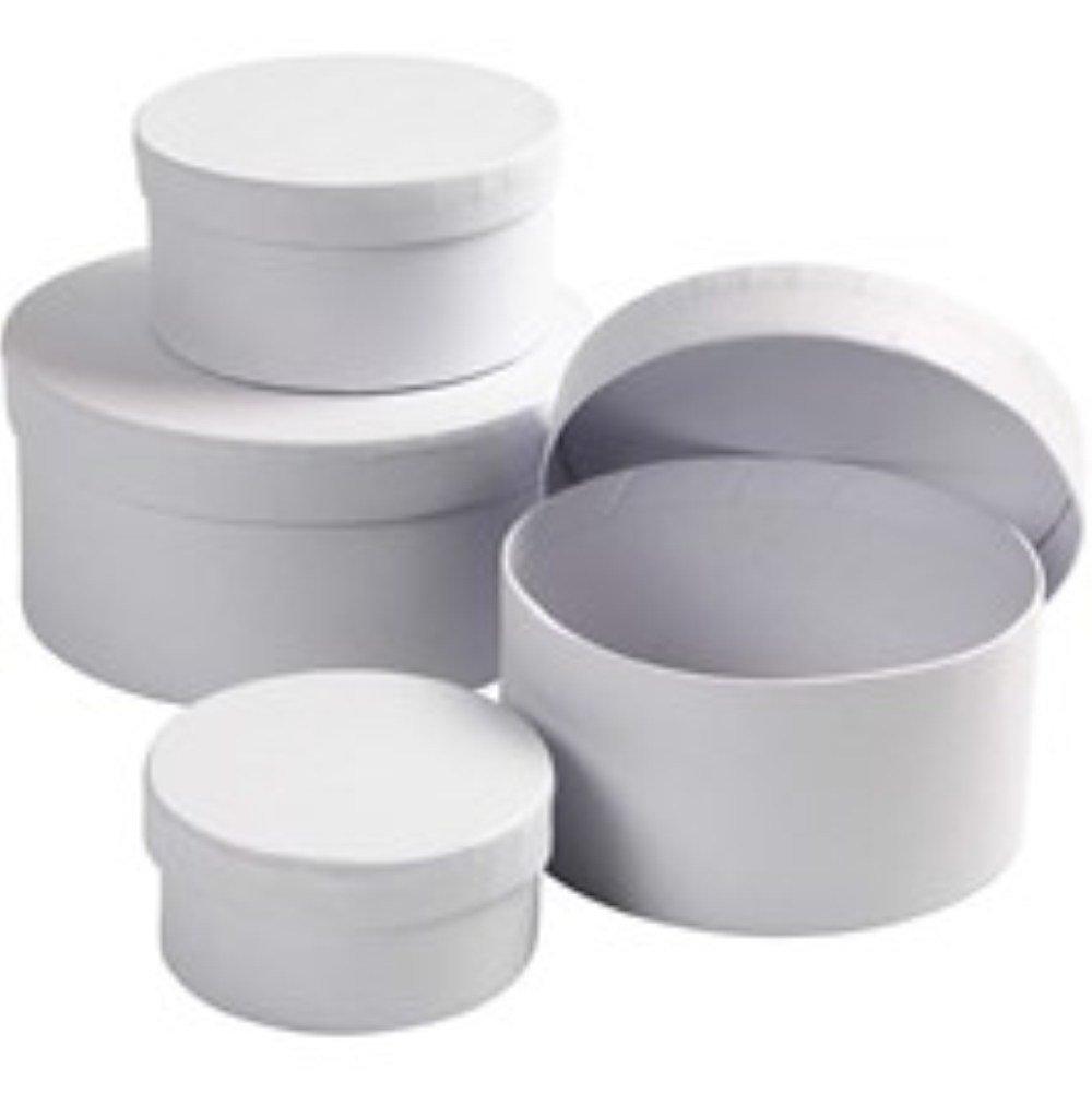 Papier Mache Boxes 4 White Paper Mache Round Boxes to Decorate Largest 14x7cm
