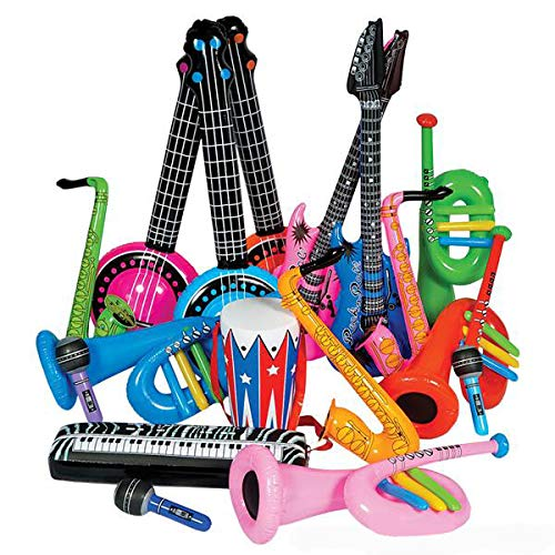 SwissToy ROCK BAND INSTRUMENT INFLATE ASSORTMENT - 24 Pack - Inflatable Musical Instruments for Kids - Great Party Favor, Party Bag Stuffer, Giveaways, Novelty Toys ()