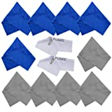 Microfiber Cleaning Cloths - 10 Colorful Cloths and 2 White ECO-FUSED Cloths - Ideal for Cleaning Glasses, Spectacles, Camera Lenses, iPad, Tablets, Phones, iPhone, Android Phones, LCD Screens and Other Delicate Surfaces (Blue / Grey) …