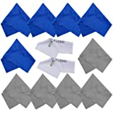 Eco-Fused Microfiber Cleaning Cloths - 10 Cloths and 2 White Cloths - Ideal for Cleaning Glasses, Camera Lenses, iPad, Tablets, Phones, iPhone, Android Phones, LCD Screens and Other Delicate Surfaces