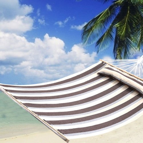 75''x55'' Double Size Hammock Heavy Duty Wood Spreader Bar Polyester-Cotton New by Unbranded