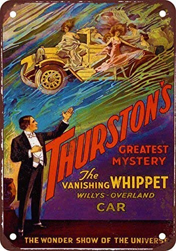(Vintage Signs for Wall Decor Thurston The Magician Vanishing Car 12X16 Inches Garage Wall Signs)