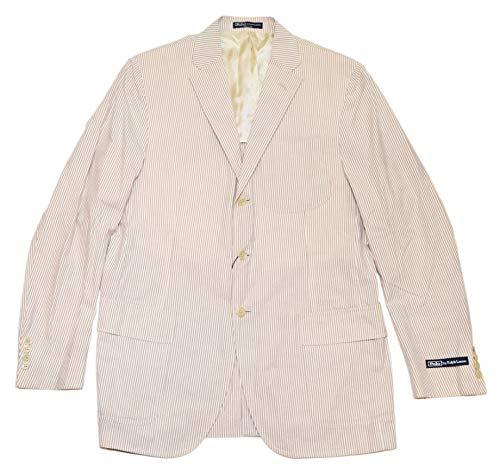 [해외]랄 프 로렌 폴로 남성 Seersucker 판 면 재킷 스포츠 코트 자 켓 이탈리아 베이 지 카 키 브라운 42 / Ralph Lauren Polo Mens Seersucker Cotton Blazer Sport Coat Jacket Italy Beige Khaki Brown 42