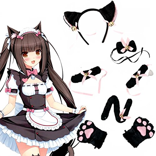 [PYD Cute Girls Cat Anime Cosplay Costume Set Headband Holiday Party Fancy Dress] (Girl Anime Costumes)