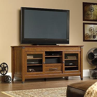 Corner Wooden Tv Console (Sauder 412922 Carson Forge Entertainment Credenza, For TV's up to 60