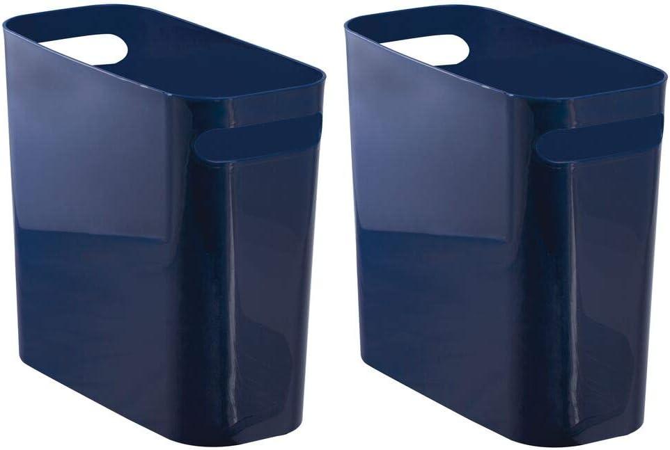 Navy Blue mDesign Slim Plastic Small Round Trash Can Wastebasket Garbage Bin