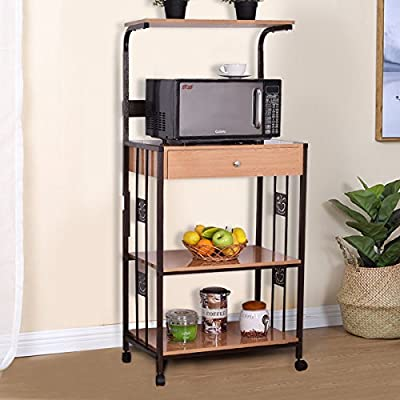 Giantex 3Tier Bakers Rack Microwave Stand Rolling Kitchen Storage Cart w/Electric Outlet