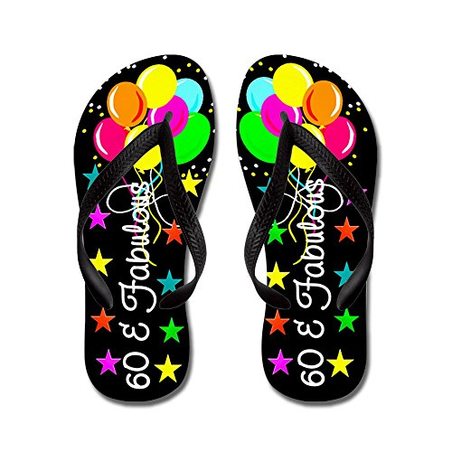 CafePress colorful 60TH - Flip Flops, Funny Thong Sandals, Beach Sandals Black