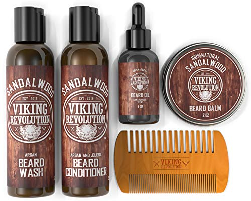 Ultimate Beard Care Conditioner Kit – Beard Grooming Kit for Men Softens, Smoothes and Soothes Beard Itch- Contains Beard Wash & Conditioner, Beard Oil, Beard Balm and Beard Comb- Sandalwood Scent