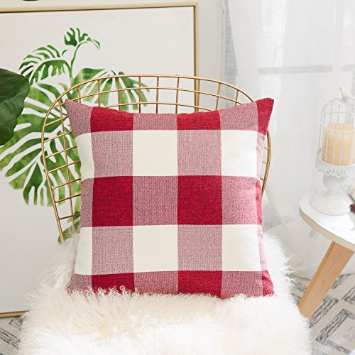 HOME BRILLIANT Red White Buffalo Checkers Plaids Linen European Euro Pillow Sham Farmhouse Square Throw Pillow Cover Love Cushion Case for Floor 26 x 26 Inch (Colorful Euro Sham Cover)