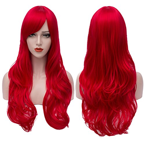 Bopocoko Red Wig Long Curly Hair Wigs Halloween Costumes for Women Cosplay Wig Heat Resistant Synthetic Wigs with Wig Cap (28 Inch) -