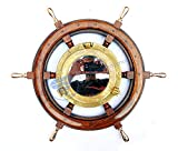 Nautical Hand Crafted Wooden Ship Wheel With Antique Brass Porthole Mirror | Nagina International (24 Inches)